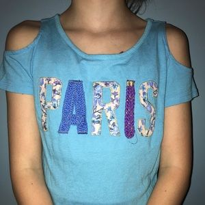 Off the shoulder blue Paris shirt from justice